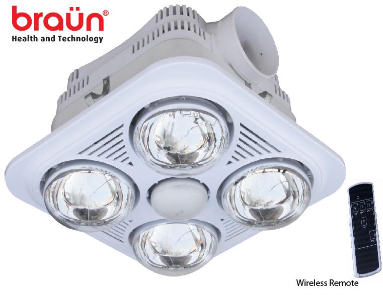 Đèn sưởi nhà tắm Braun 4 bóng âm trần có điều khiển từ xa (BU04GR)