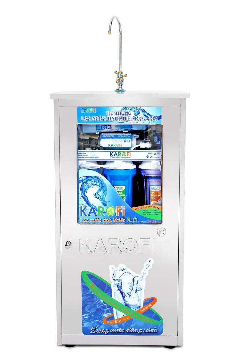 Máy lọc nước Karofi 8 cấp lọc có tủ bình áp thép (K8T)