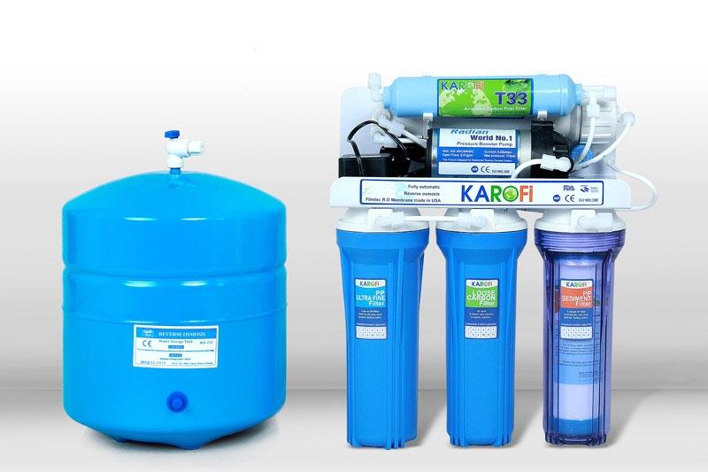 Máy lọc nước Karofi 8 cấp lọc không tủ bình áp thép (K8)