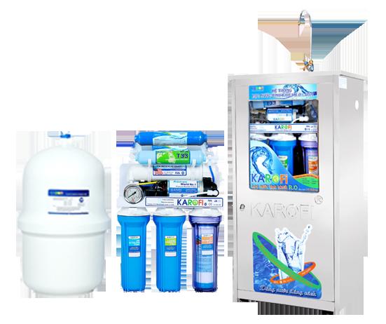 Máy lọc nước Karofi 7 cấp lọc bình áp nhựa đồng hồ áp (KD7N)