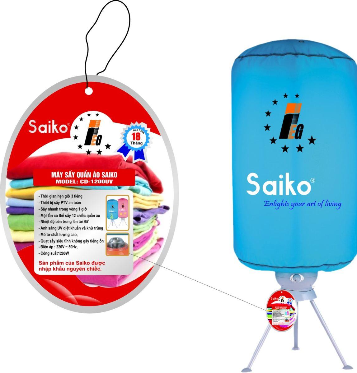 Máy sấy quần áo Saiko CD- 1200UV