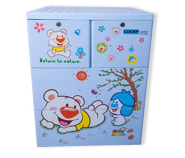 Tủ nhựa Việt Nhật Lucky 3 tầng (xanh dương, hình Gấu)