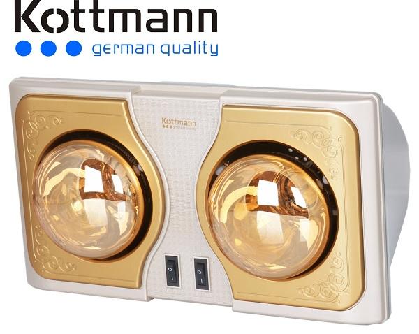 Đèn sưởi nhà tắm kottmann 2 bóng vàng new 2015 (K2BH)