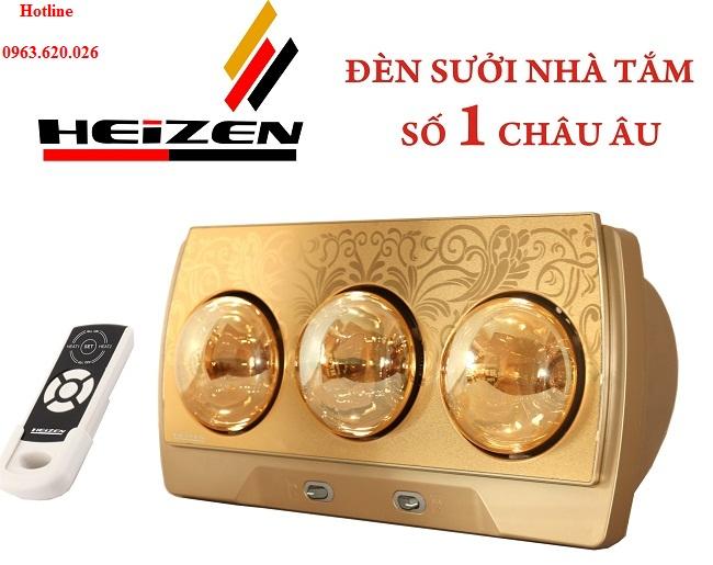 Đèn sưởi nhà tắm Heizen 3 bóng vàng có điều khiển từ xa (HE3BR)