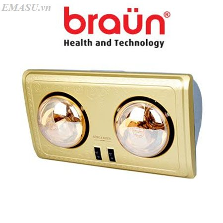 Đèn sưởi nhà tắm Braun 2 bóng vàng BU02