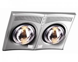 Đèn sưởi nhà tắm Hans 2 bóng bạc (H2B610)