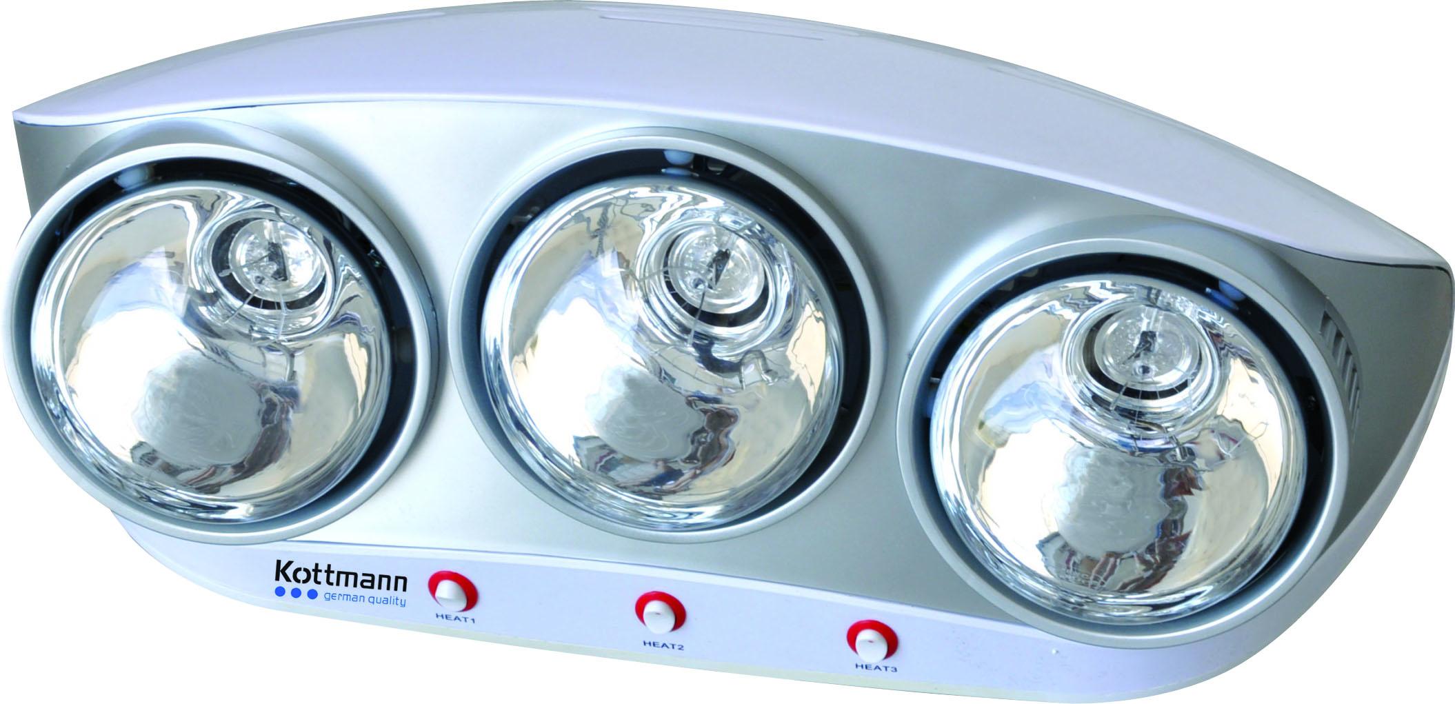 Đèn sưởi nhà tắm 3 bóng bạc Kottmann (K3B-S)