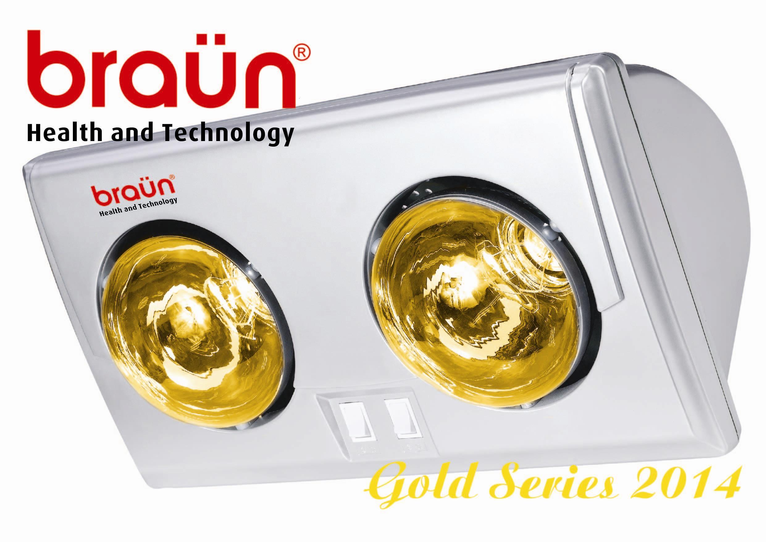 Đèn sưởi nhà tắm Braun 2 bóng màu vàng (BU02G)