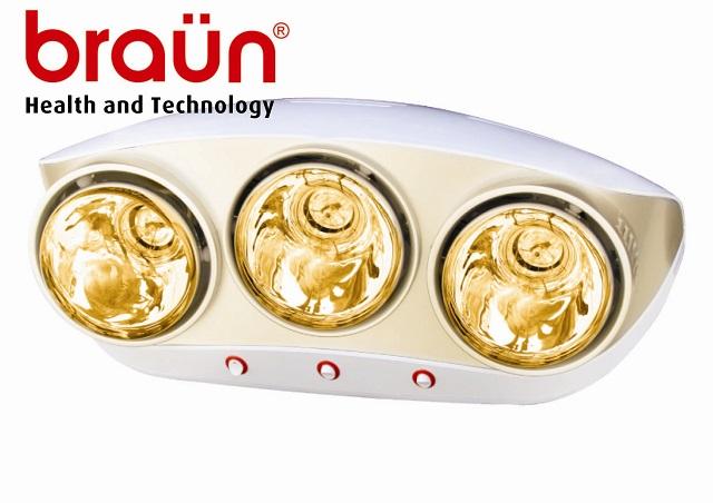 Đèn sưởi nhà tắm Braun 3 bóng màu vàng (BU03G)
