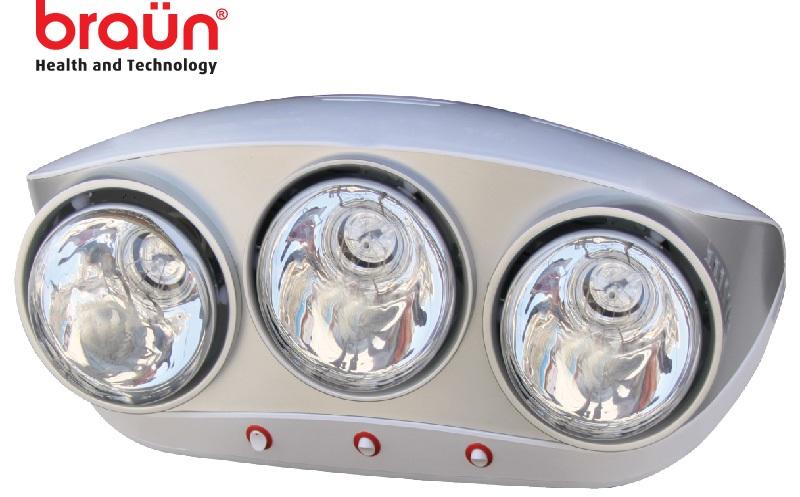 Đèn sưởi nhà tắm Braun 3 bóng màu bạc (BU03)