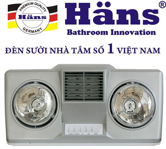 Đèn sưởi Hans 2 bóng bạc thổi gió nóng (H2BHW)