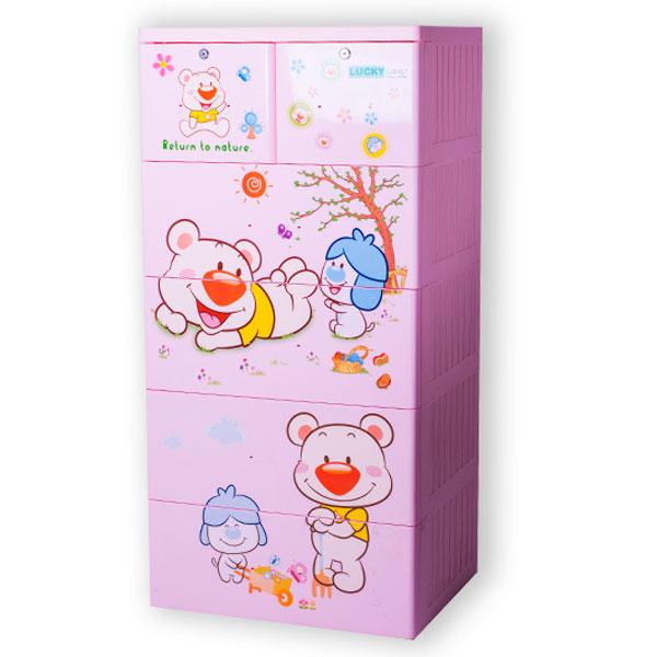 Tủ nhựa Việt Nhật Lucky 5 tầng (màu hồng, hình gấu)